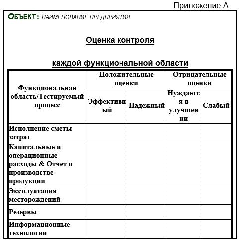 отчет по проверке внутреннего контроля образец